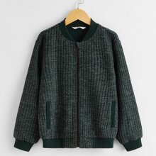 Boys Zipper Up Rib-knit Bomber Jacket