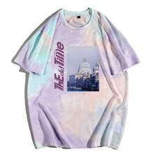 Guys Tie Dye Building And Letter Graphic Tee