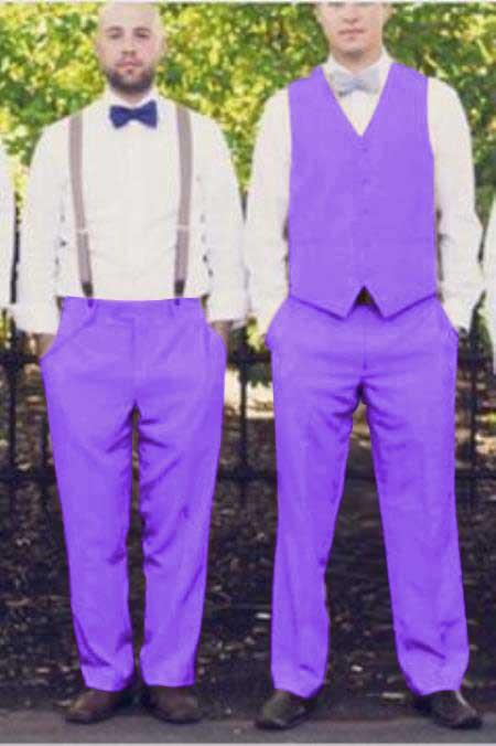 Matching Waistcoat Wedding Prom Vests & Flat Front Pants Set Lavender