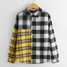 Hemd mit sehr tief angesetzter Schulterpartie, Karo Muster und Farbblock