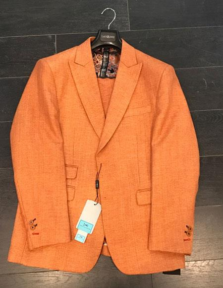 Men's Two Buttons Orange Linen ~ Cotton Peak Lapel Suit Ticket Pocket