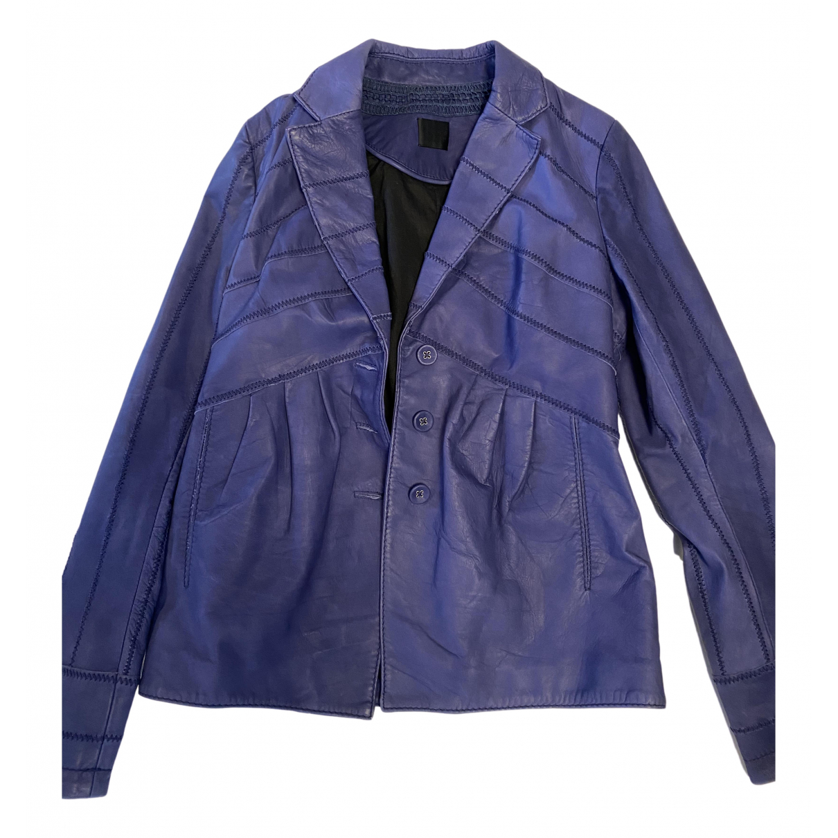 Non Signé / Unsigned N Purple Leather jacket for Women 36 FR
