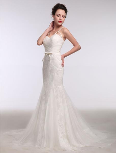 Milanoo Summer Wedding Dresses 2020 Mermaid Boho Lace Sweetheart Tulle Bridal Gown Backless Bow Knot Sleeveless Chapel Train Bridal Dress
