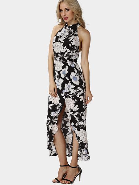 Yoins Random Floral Print Sleeveless Elastic Waist Slit Hem Maxi Dress
