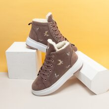 Embroidery Lace-up Front Plush Inside Sneakers