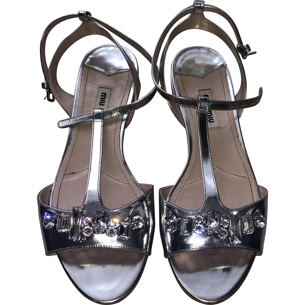 Miu Miu \N Metallic Leather Sandals for Women 37.5 EU