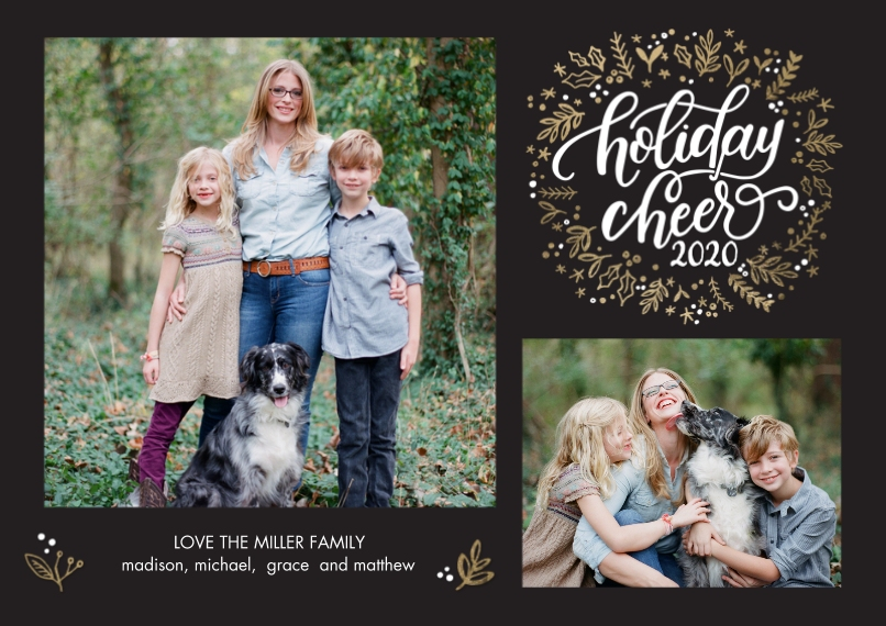 Christmas Photo Cards Flat Matte Photo Paper Cards with Envelopes, 5x7, Card & Stationery -2020 Holiday Cheer Wreath by Tumbalina