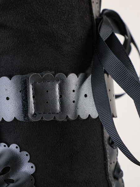 Milanoo Lolita Boots Bows Kitten Heel Round Toe Lace Up Lolita Shoes