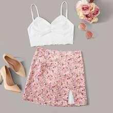 Lettuce Trim Cami Top & Ditsy Floral Print Skirt