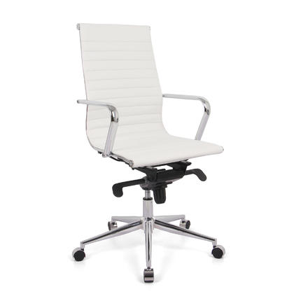 Modern High-Back Ribbed Office Chair with Fixed Arms - Moustache® - White