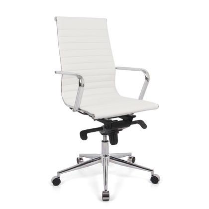 Chaise de bureau moderne avec dossier haut et accoudoirs fixes - Moustache® - Blanc