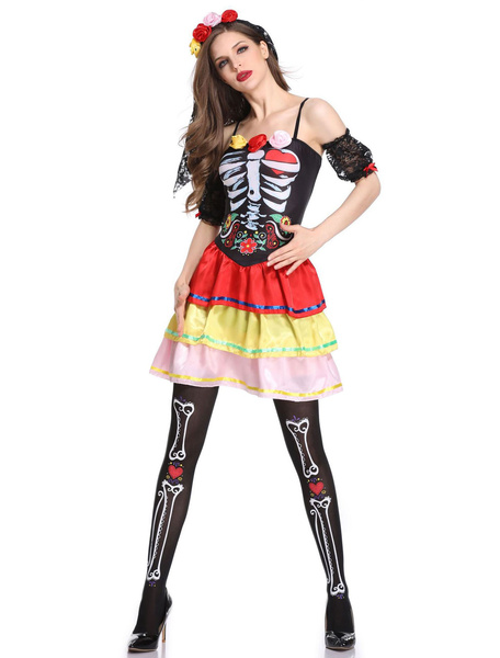 Milanoo Skeleton Corpse Bride Costume Halloween Women Sexy Outfit