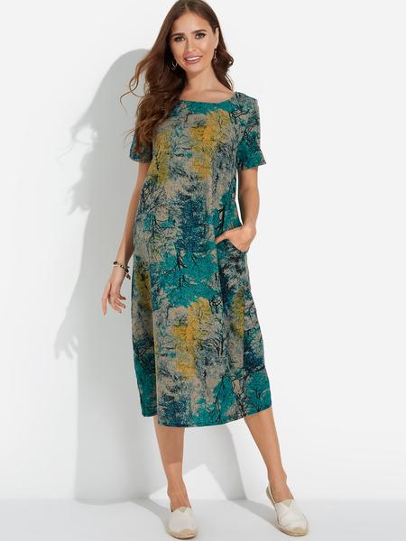 Yoins Boho Style Leaves Print Round Neck Short Sleeves Midi Dress in Blue