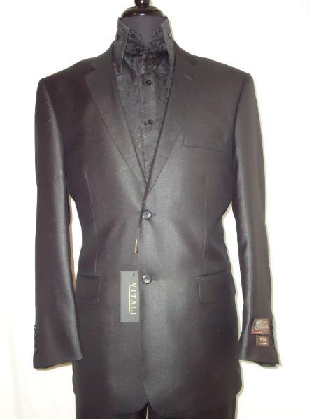 Mens Designer 2Button Shiny Black Sharkskin Suit