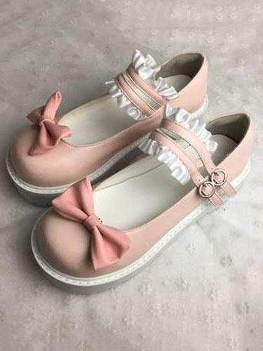 Milanoo Kawaii Lolita Shoes Square Toe PU Shoes