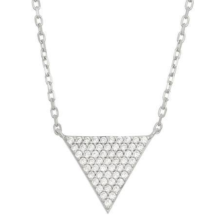 DiamonArt Womens 5/8 CT. T.W. White Cubic Zirconia Sterling Silver Triangle Pendant Necklace, One Size , No Color Family