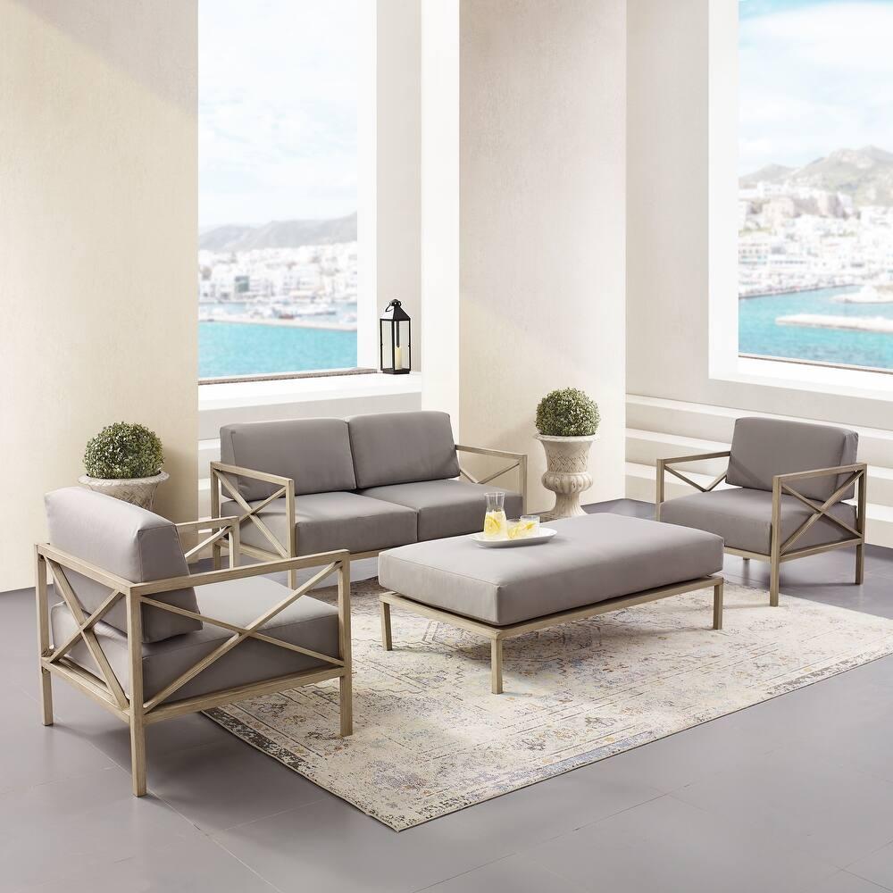 Wood X-Design 4-piece Metal Base Outdoor Set (Grey)
