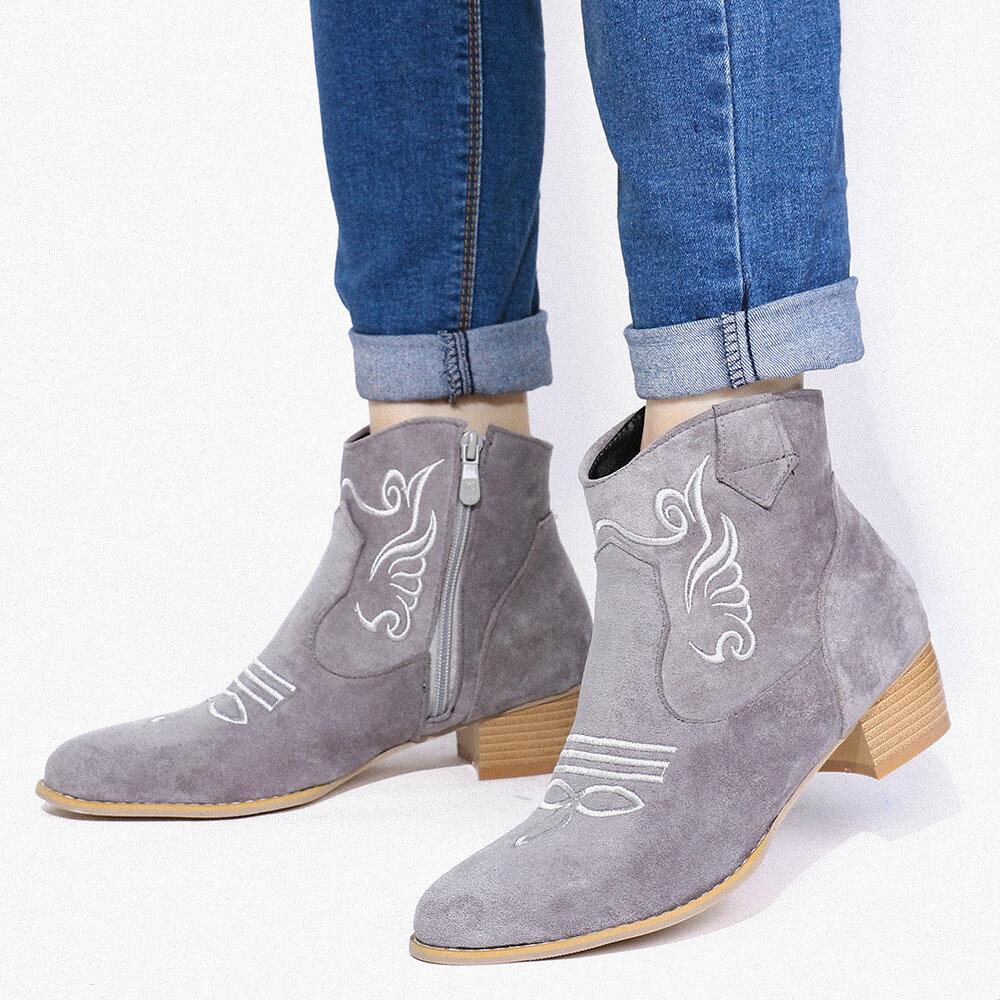 Plus Size Women Fashion Ladies Suede Embroideried Zipper Single Boots