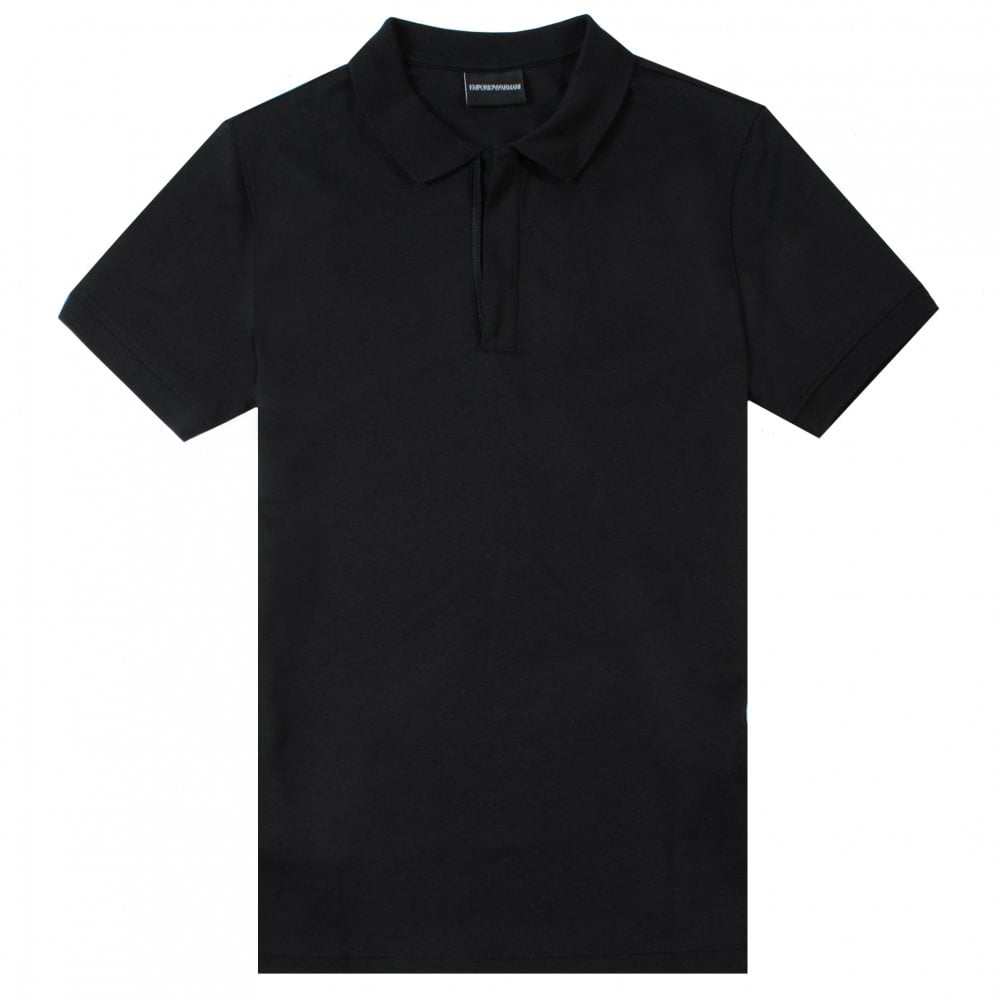 Emporio Armani Empioro Armani Zip Neck Polo Colour: BLACK, Size: MEDIUM