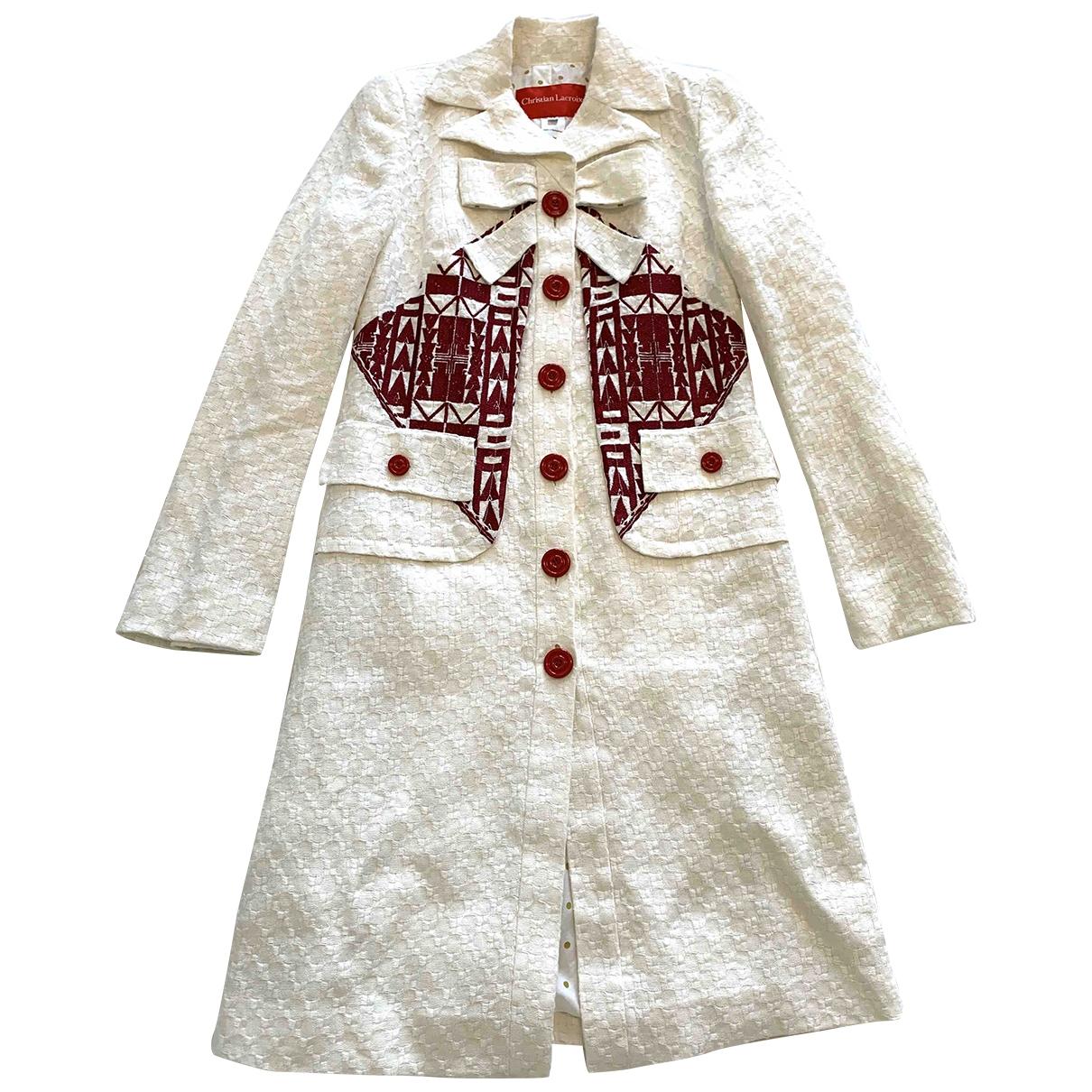 Christian Lacroix \N White Linen coat for Women 38 FR