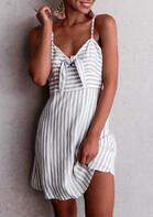 Striped Splicing Tie Spaghetti Strap Mini Dress