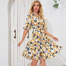 Floral Print Flounce Sleeve A-line Dress
