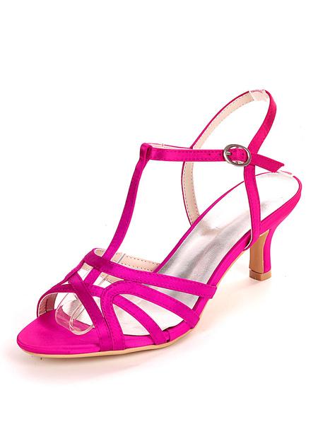 Milanoo Wedding Guest Shoes Ivory Satin Buckle Open Toe Kitten Heel Bridal Shoes