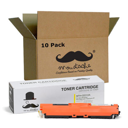 Compatible HP 126A CE312A cartouche de toner jaune - Moustache - 10/paquet