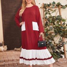 Kleid mit Taschen Flicken, Rueschen und Kontrast Saum