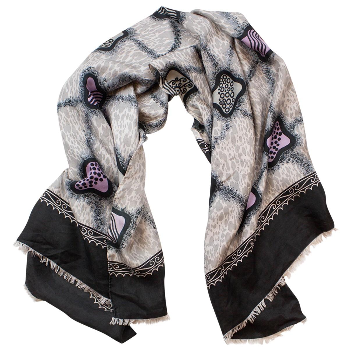 - Foulard   pour femme en soie - gris