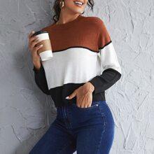 Color Block Round Neck Sweater