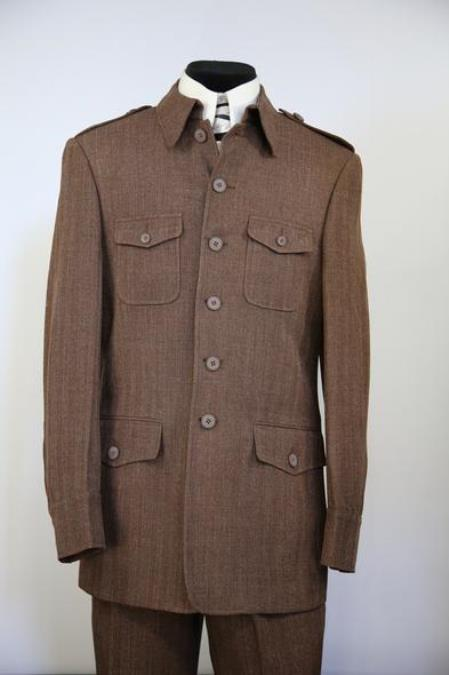 Mens Naval Style High Collar Wool Zoot Suit Coffee