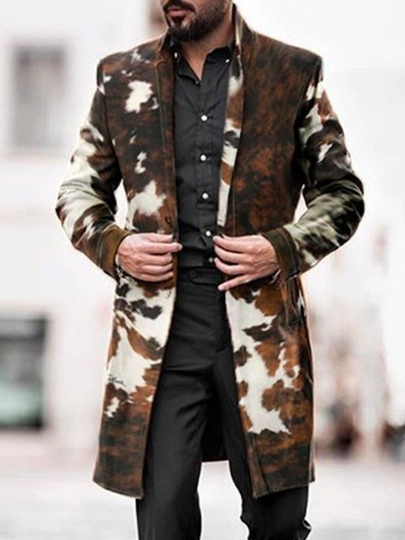 Ericdress Print Mid-Length Lapel Fall Single-Breasted Coat