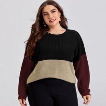Pullover mit Cut und Sew Einsatz und sehr tief angesetzter Schulterpartie