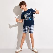 Boys Dinosaur & Slogan Graphic Top & Buffalo Plaid Shorts Set