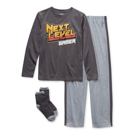 Arizona Little & Big Boys 2-pc. Pant Pajama Set, X-small (6-7) , Gray