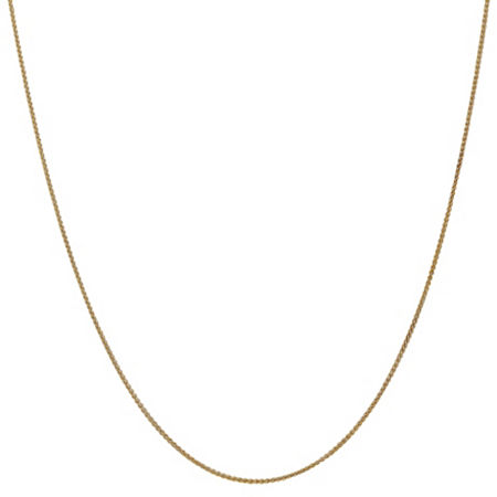 14K Gold 14 Inch Solid Wheat Chain Necklace, One Size , No Color Family