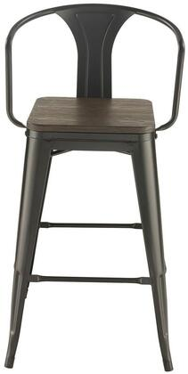 Dining Chairs and Bar Stools 100737 41 Cafe Bar Stool with Solid Bamboo Wood Seat  Tapered Legs and Metal Construction in Dark Elm and Matter Black