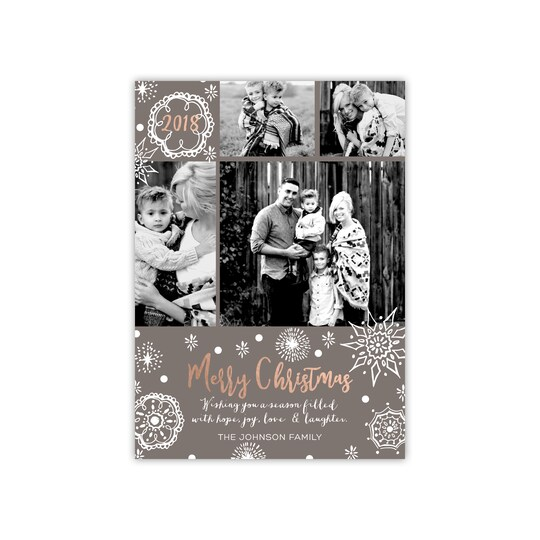 20 Pack of Gartner Studios® Personalized Hand-Drawn Snowflakes Flat Foil Holiday Photo Card in Smoke   5