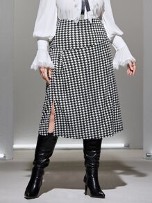 Plus Houndstooth Print Side Split Skirt