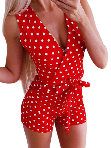 Milanoo Polka Dot Romper Shorts Red V Cuello sin mangas Sash Women Playsuit