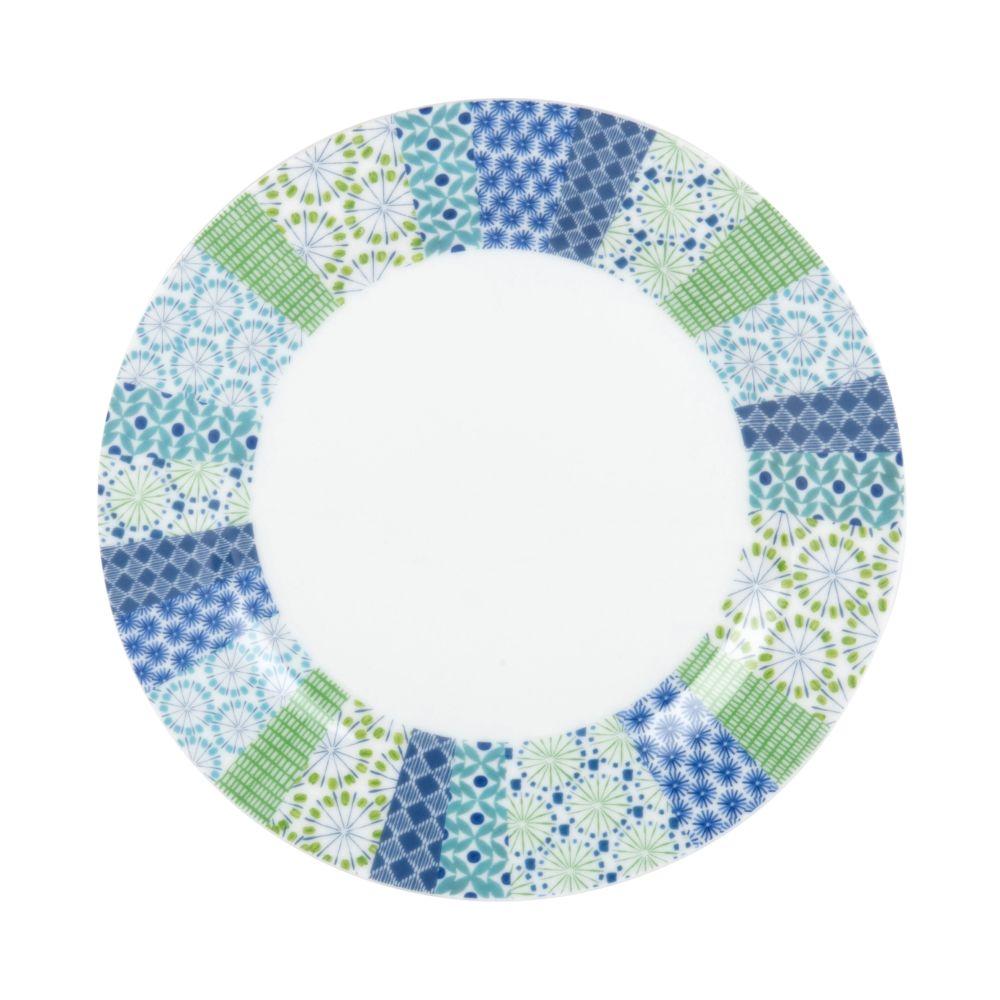 Dessertteller aus weissem Porzellan mit grafischen Motiven in Blau und Gruen