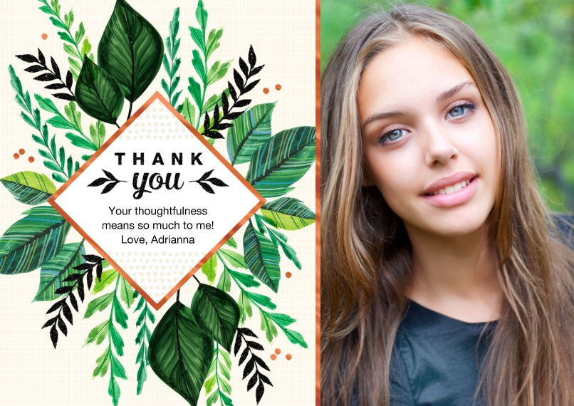Graduation Thank You Cards 5x7 Cards, Premium Cardstock 120lb with Rounded Corners, Card & Stationery -Leafy Grad Thank You by Hallmark