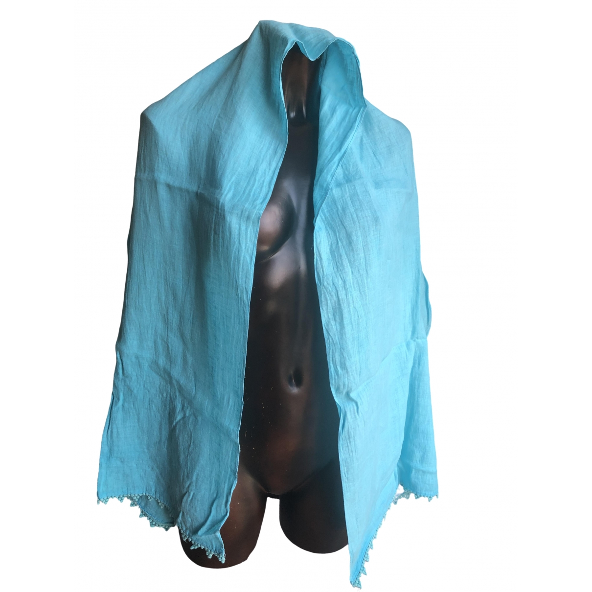 120% Lino \N Turquoise Linen scarf for Women \N