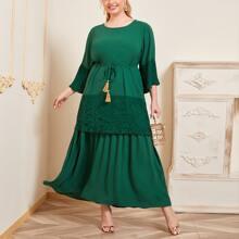 Vestidos Tallas Grandes Encaje en contraste Liso Verde Elegante