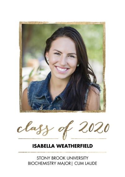 2020 Graduation Announcements 5x7 Cards, Standard Cardstock 85lb, Card & Stationery -2020 Grad Gold Stroke by Tumbalina
