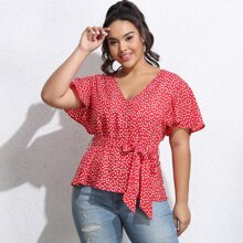 Plus Ditsy Floral Belted Top