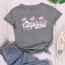 Tropical & Letter Graphic Tee