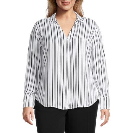 Worthington Womens Soft Blouse - Plus, 4x , White