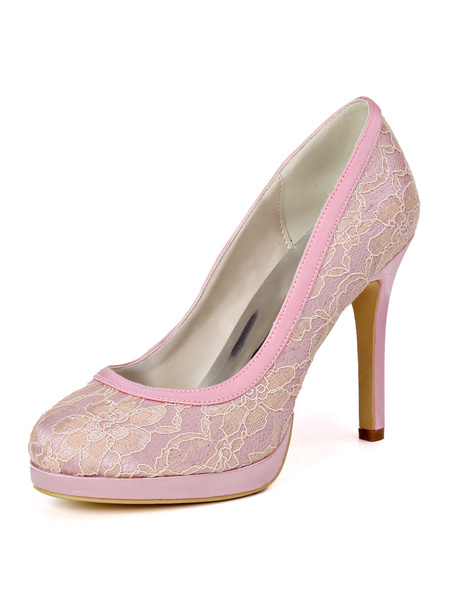 Milanoo Wedding Guest Shoes Lace Ivory Round Toe Stiletto Heel 4.3 Bridal Shoes